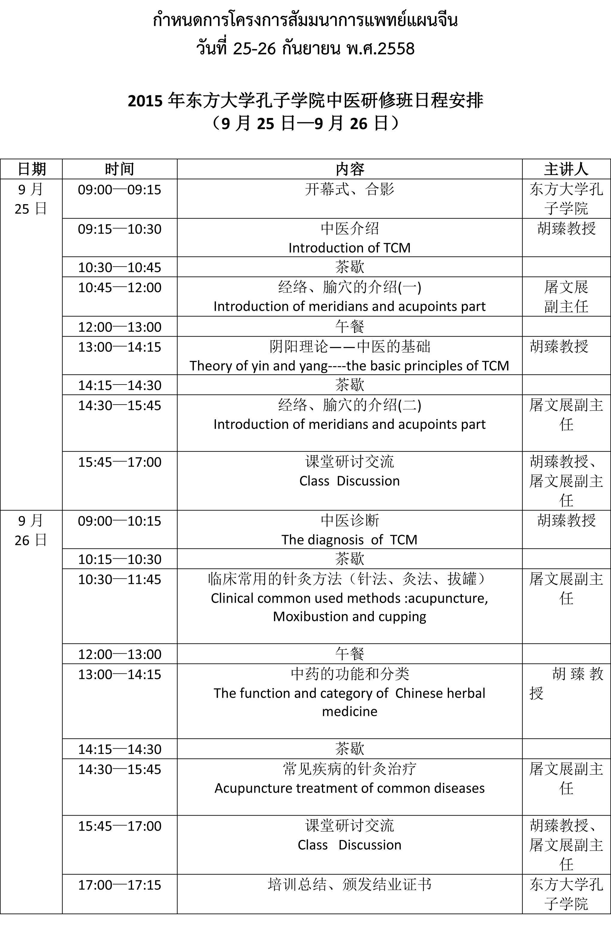 กำหนดการสัมมนาการแพทย์แผนจีน 2015年东方大学孔子学院中医研修班日程安排