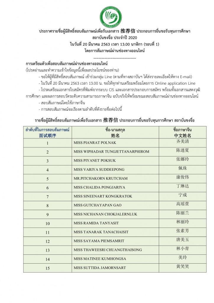 ประกาศรายชื่อและกำหนดการผู้เข้าสอบสัมภา Page1