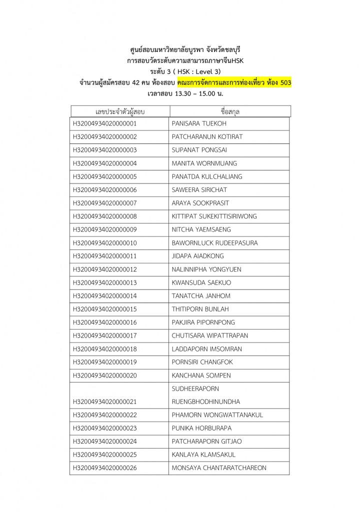 1. ประกาศรายชื่อผู้มีสิทธิ์สอบและสนามสอบ HSK HSKK 2020.1 สนามสอบม.บูรพา Page5