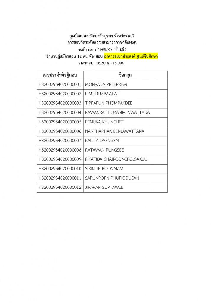 2. ประกาศรายชื่อผู้มีสิทธิ์สอบและสนามสอบ HSKK 2020.1 สนามสอบม.บูรพา Page3