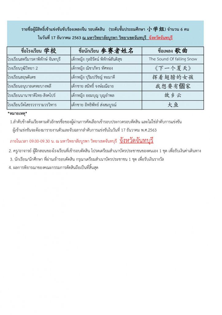 ประกาศรายชื่อผู้มีสิทธิ์การแข่งขันร้องเพลงจีนรอบตัดสิน26.11.63 Page2