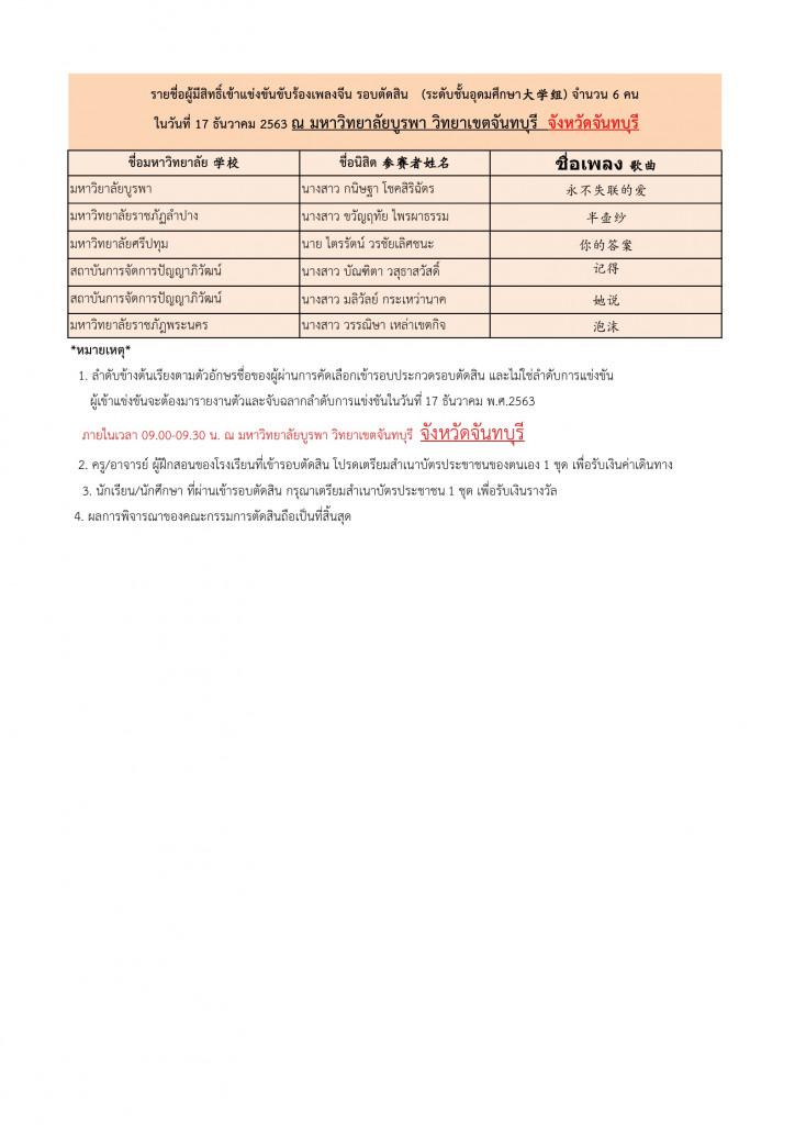 ประกาศรายชื่อผู้มีสิทธิ์การแข่งขันร้องเพลงจีนรอบตัดสิน26.11.63 Page4